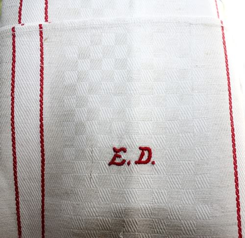 Antique Cream Oatmeal Linen Monogrammed Towel ED