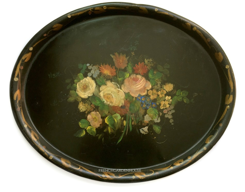 Antique Early Hand Painted Tole Tray Black Floral