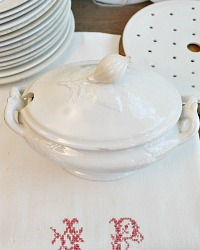 19th Century White Ironstone Tureen Rose Finial
