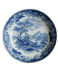 Antique Blue and White Transfer Bowl Boy with Dog