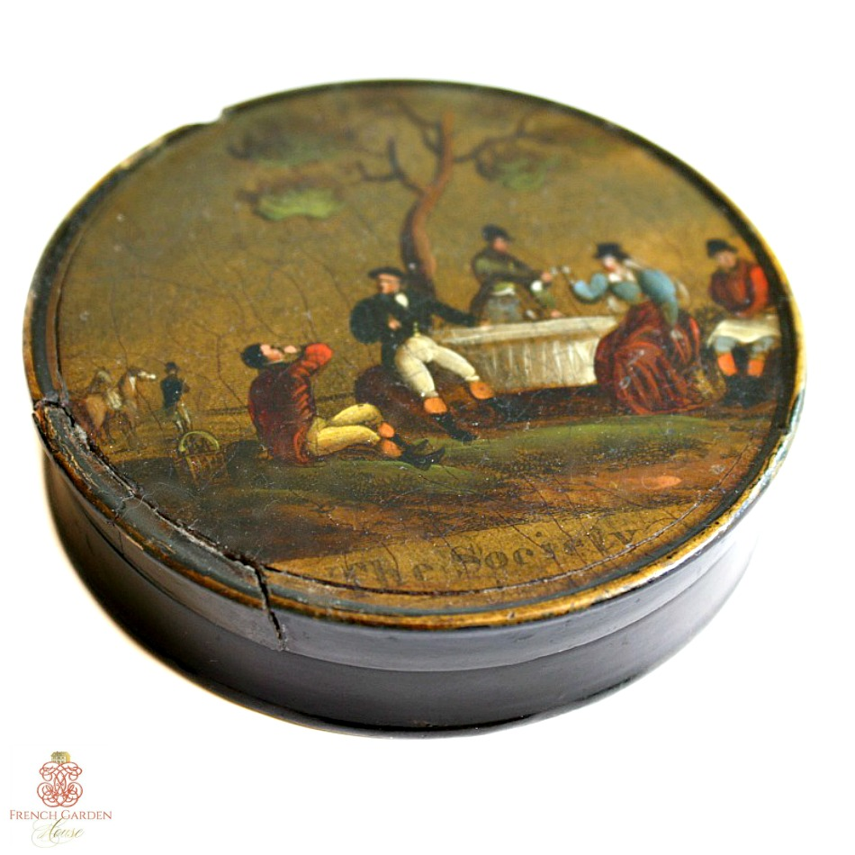 Antique Snuff or Patch Box Vernis Martin Painting The Society