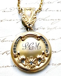Antique Art Nouveau Monogrammed Chatelaine Gold Locket Christmas 1908