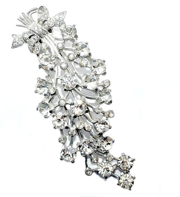 Huge 1930's Eisenberg Original Diamante Fur Clip