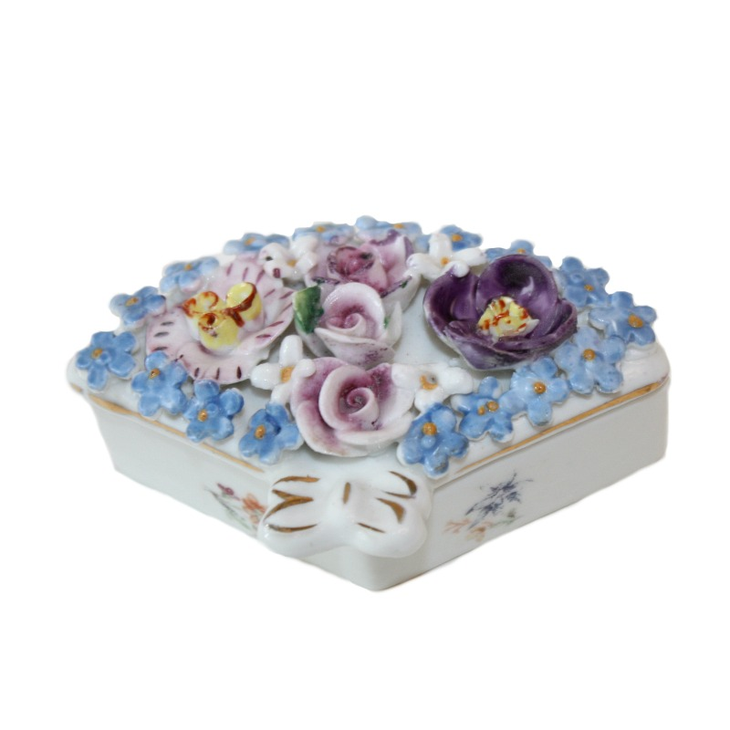 Miniature Porcelain Elfinware Flower Covered Fan Box