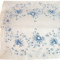 Blue and White Heirloom Madeira Hand Embroidery Placemat Set 6