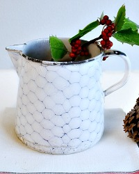 Antique French Enamelware Chicken Wire Pitcher