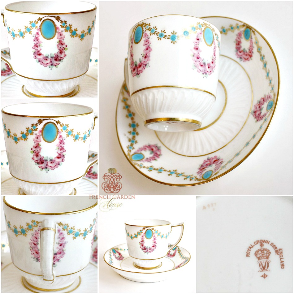 Antique Estate Enameled Royal Crown Derby Demitasse Cup & Saucer 1896
