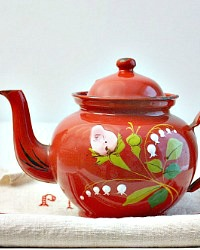 Antique French Hand Painted Enamelware Red Floral Tea Pot