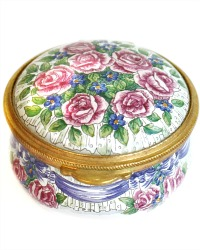 Hand Painted Enamel Trinket or Snuff Box Pink Roses