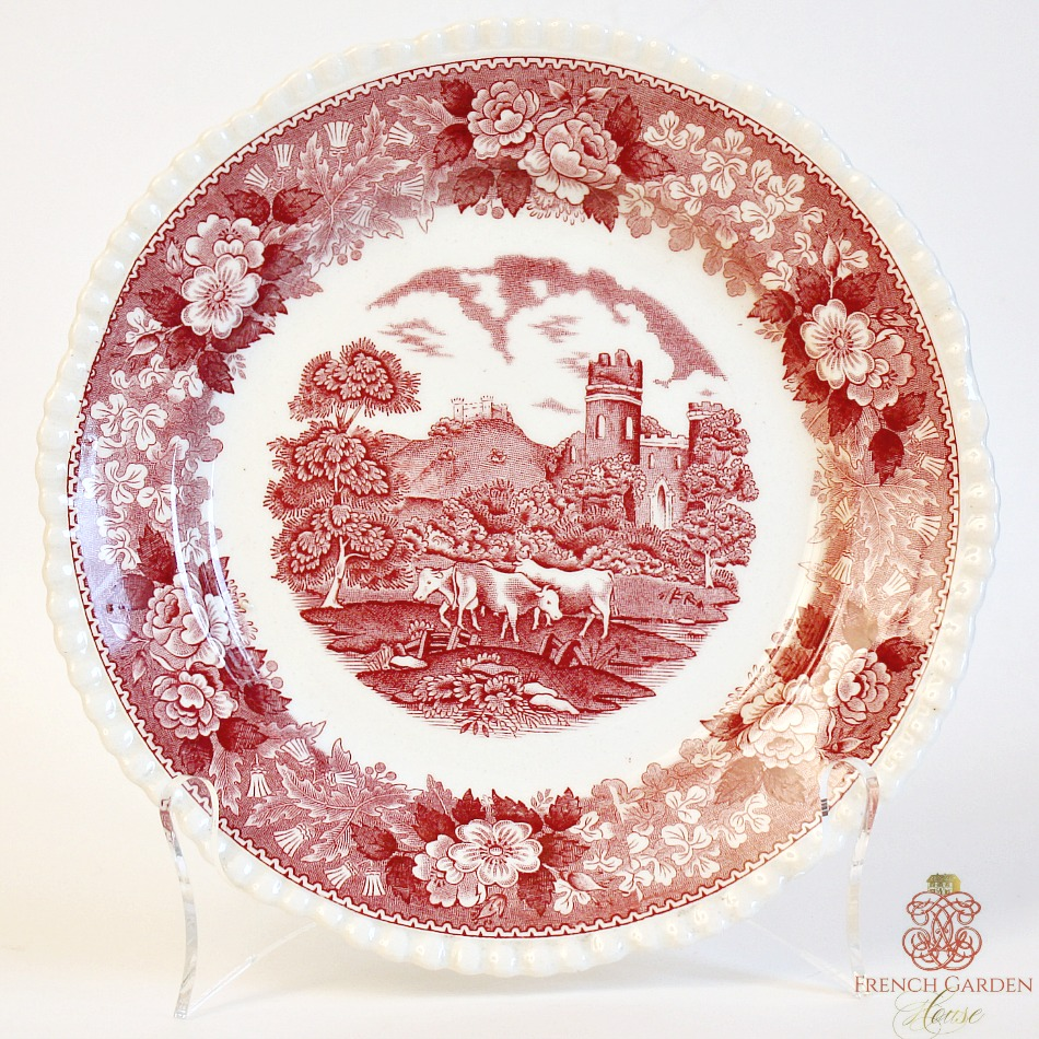 Antique 19th Century English Red Transferware Plate