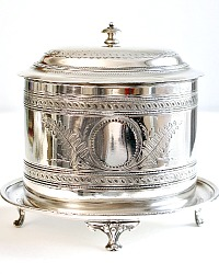 Antique Estate Victorian Silver Plate Biscuit Barrel