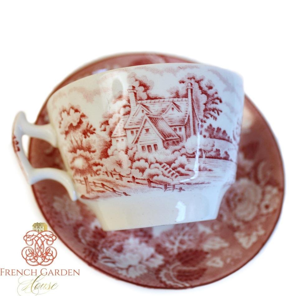 1918 Pink English Country Scene Transferware Tea Cup