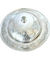 Antique Silver Plate Ornate Floral Entree Dome and Underplate