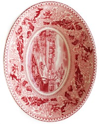 Vintage Red Transferware Historic America Bowl
