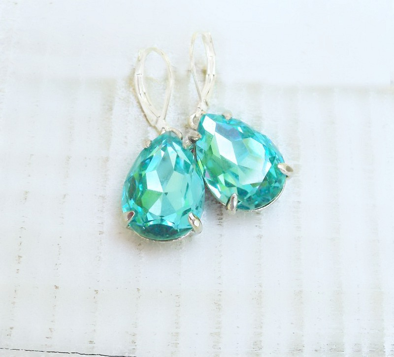 Estate Luxury Style Aqua Drop Earrings