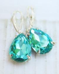 Estate Luxury Style Aqua Drop Earrings