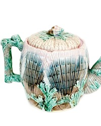 Antique Majolica Shell and Seaweed Teapot Etruscan