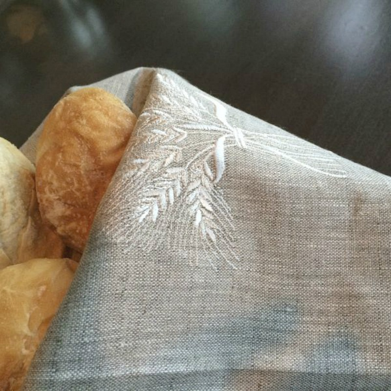 European Linen Flax Embroidered Towel with Wheat