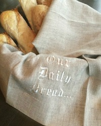 Our Daily Bread European Linen Embroidered Towel Flax