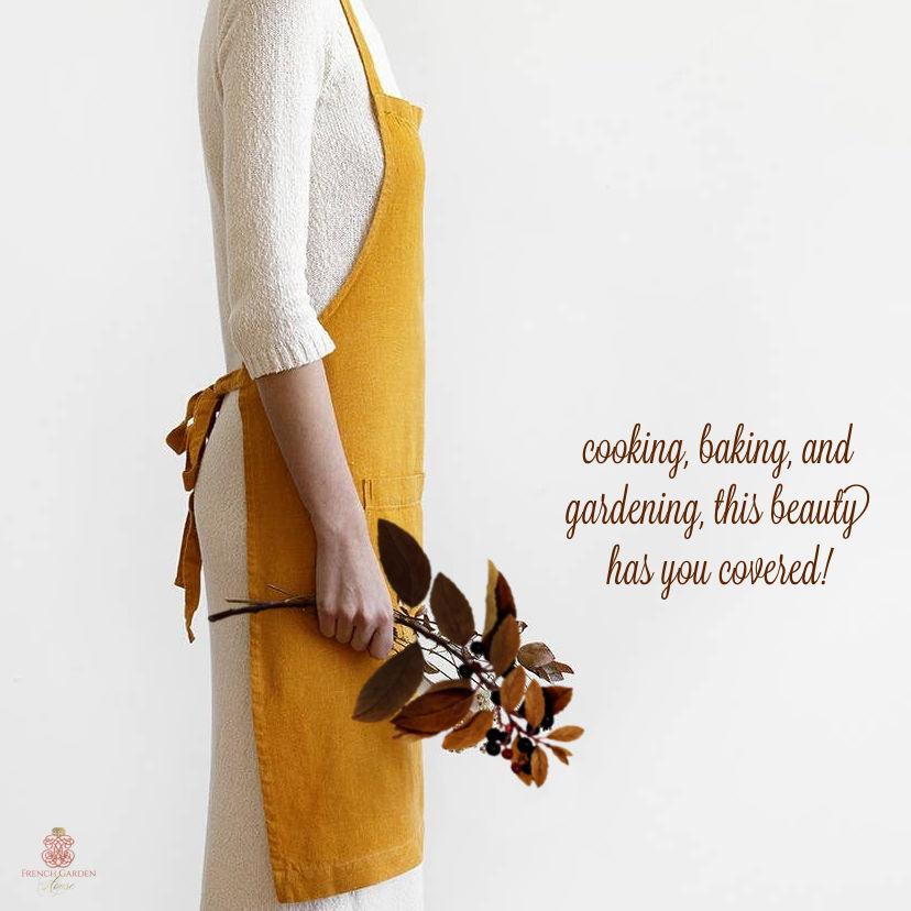 Linen Apron Rich Mustard Yellow