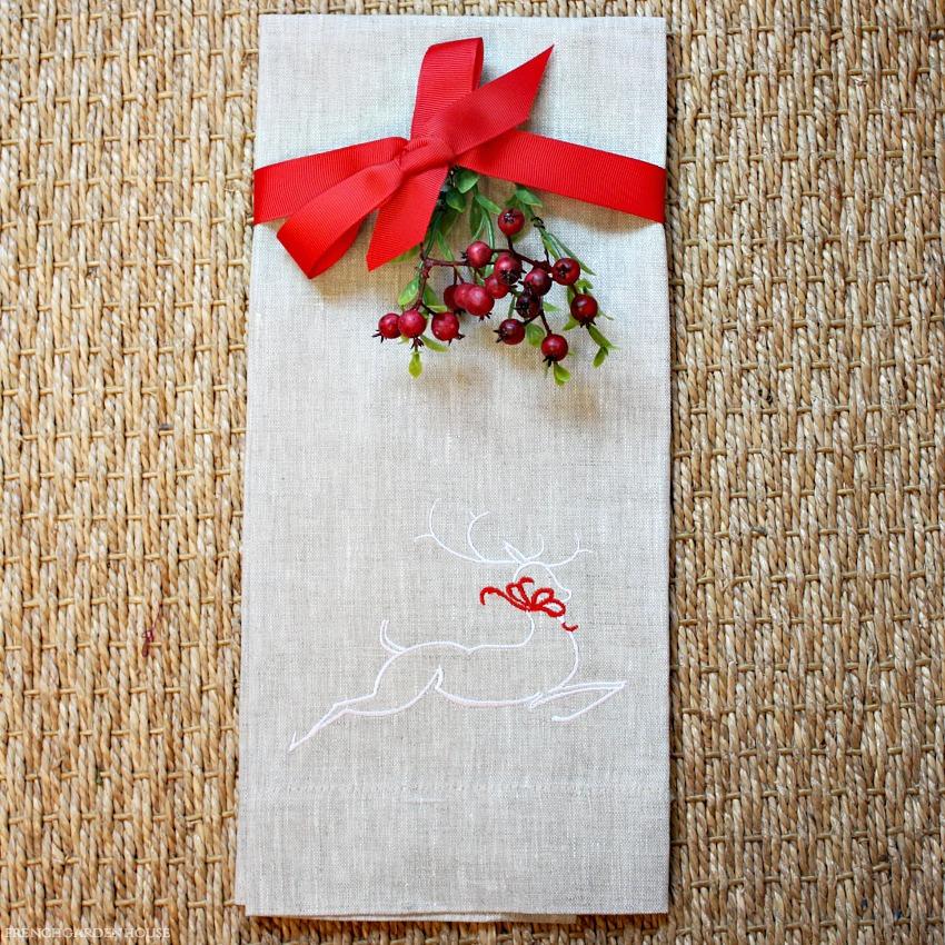 European Luxury Linen Reindeer Embroidered Towel Flax