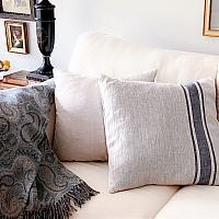 Natural French Country Linen and Blue Stripe PIllow