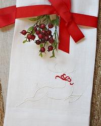 European Luxury Linen Reindeer Embroidered Towel White