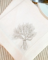 European Luxury Linen Gerbe de Ble Embroidered Napkin White Set of 4