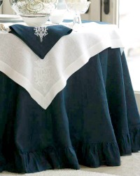 Elegant European Navy Blue Organic Linen Round Tablecloth