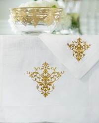 European White and Gold Linen Runner
