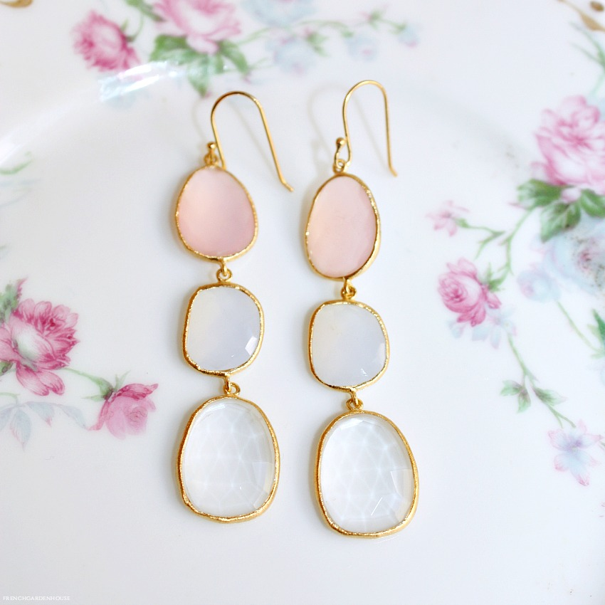 Gold Vermeil Pink Evening Glow Earrings