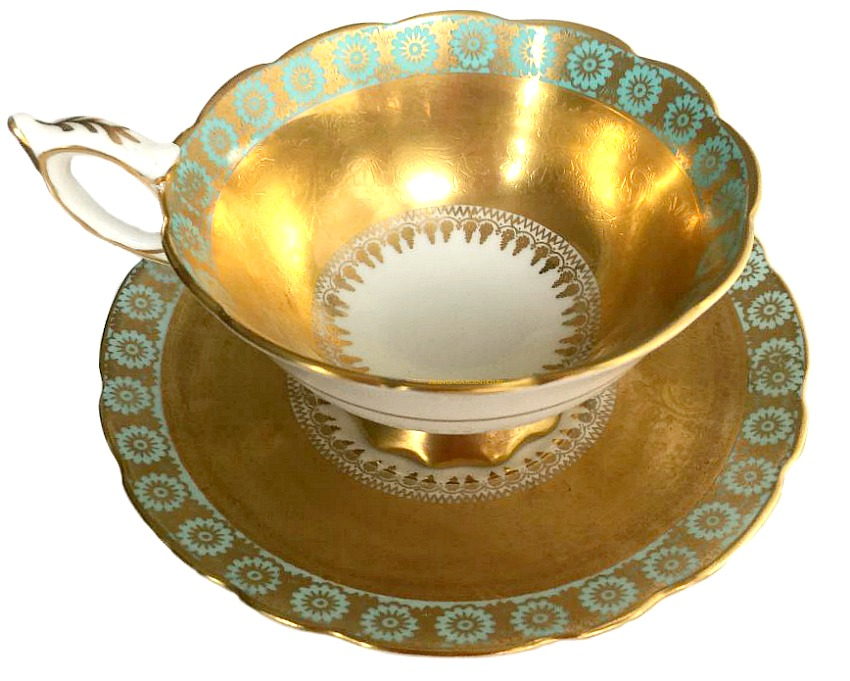 Luxury Vintage Gilt Encrusted Royal Staffordshire Tea Cup Set Aqua