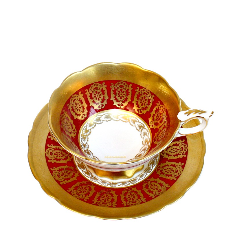 Luxury Vintage Gilt Encrusted Royal Staffordshire Tea Cup Set Red