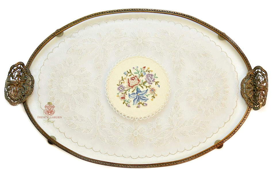 Antique Gold Plated Lace and Rose Embroidery Tray