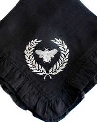 Luxurious Organic Linen Napoleonic Bee Ruffled Napkin Black Set of 4