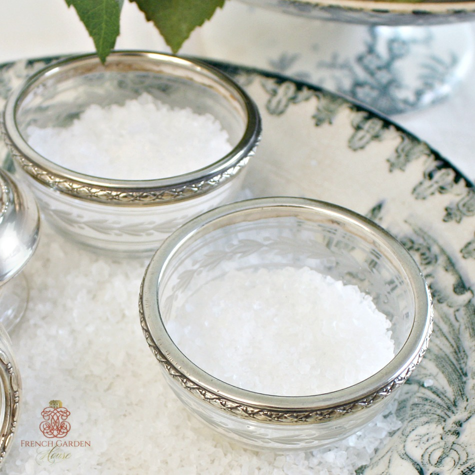 Antique French Crystal and Silver Master Salts Pair
