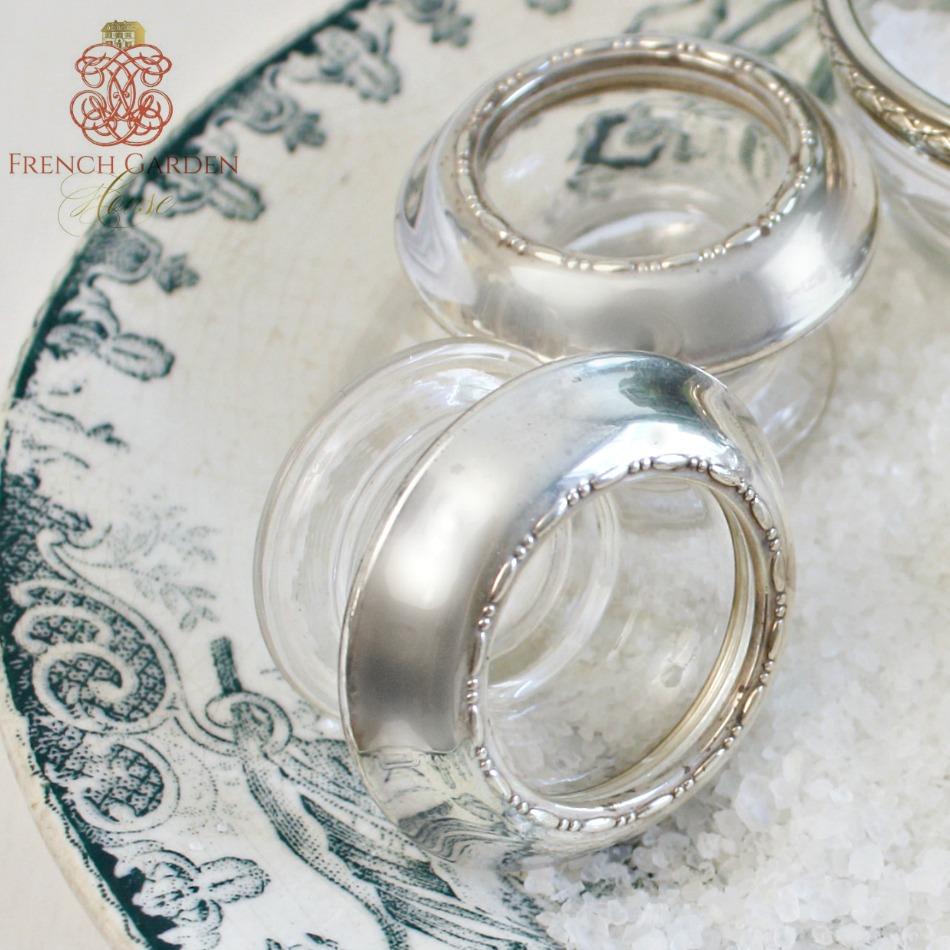 Vintage Art Deco Sterling & Crystal Open Salts Pair