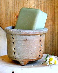 Antique French Stoneware Pottery Cheese Mold with Olive Soap