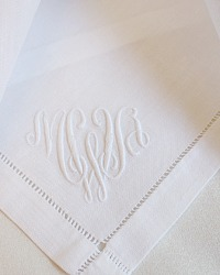 Antique White Linen Napkins Monogram MWA Set 6