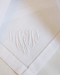 6 Pristine White Linen Napkins Monogram MWA