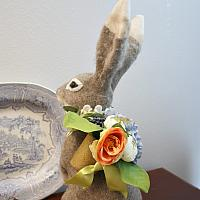 Large Felted Hare with Peonies and Hydrangeas Naturelle