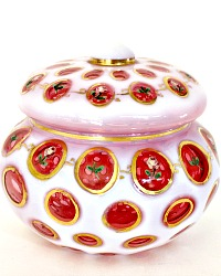 Vintage Fenton Cranberry Coin Dot Covered Candy Dish Hand Painted Roses