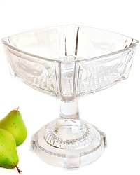Early American Pressed Glass Pedestal Compote Ferns