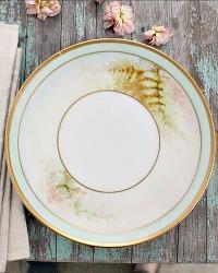 Antique Estate Hand Painted Gilt Fern Plates Set of 4