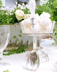 Silver Plate and Glass FERN Serving Spoon