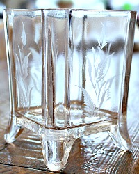 Antique EAPG Glass Spooner with Ferns