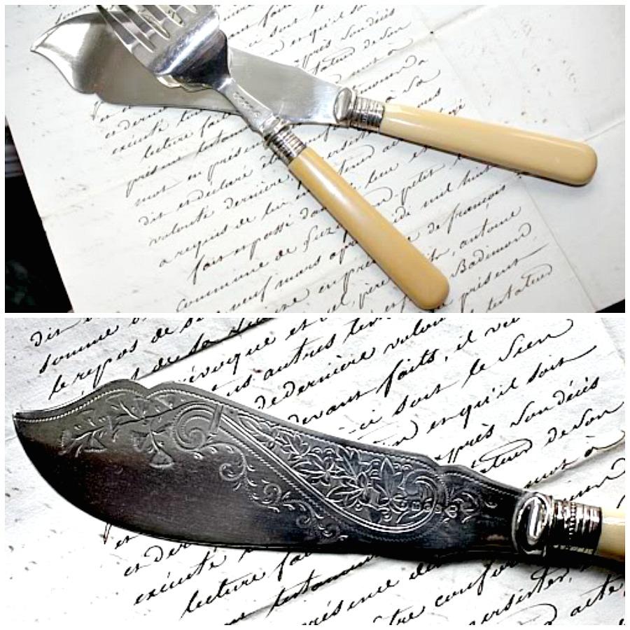 Antique Estate Vctorian Silver Engraved Fish Serving Set