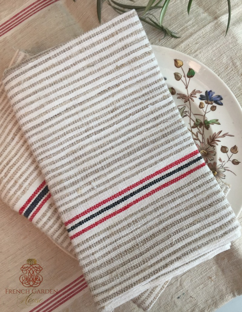 Antique Flax and Linen Towel Red Black Stripe