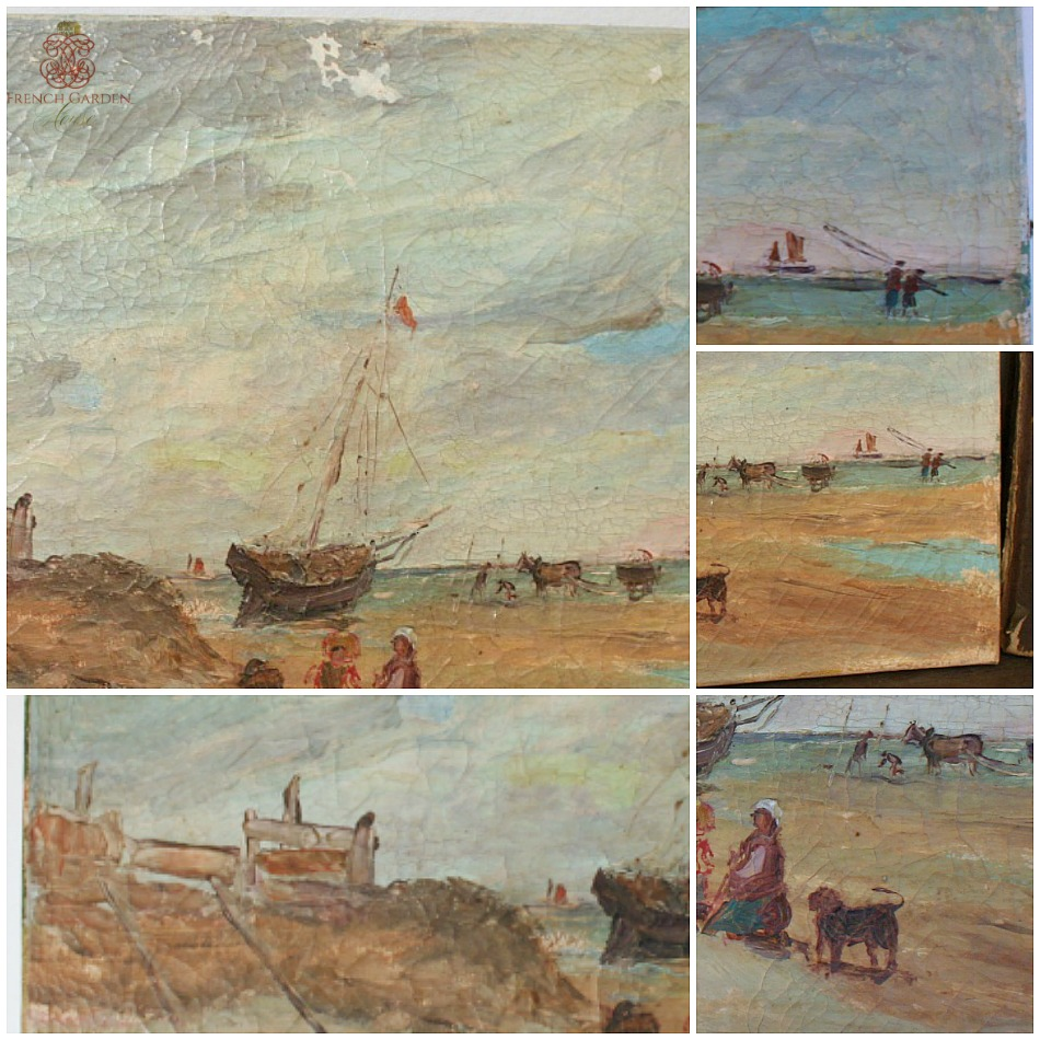 Antique French Flea Market Oil Painting Sea Scape
