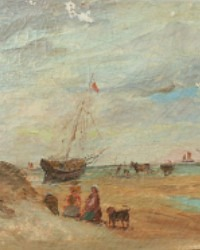Antique French Flea Market Oil Painting Sea Scape